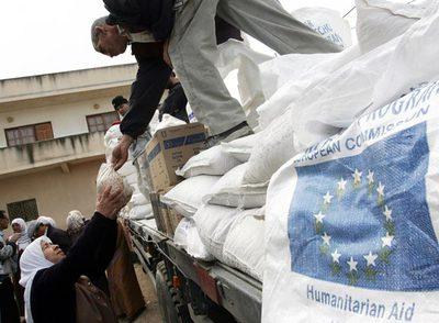Una mujer palestina recibe un lote de comida de la Unión Europea a través del programa mundial de alimentos de la ONU.