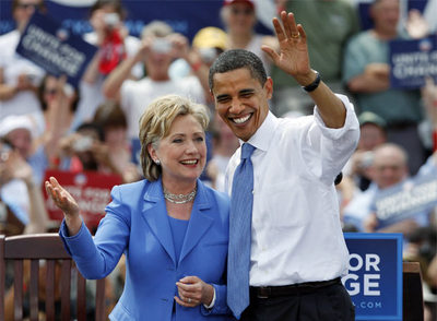 Hillary Clinton y Barack Obama, en la localidad de New Hampshire