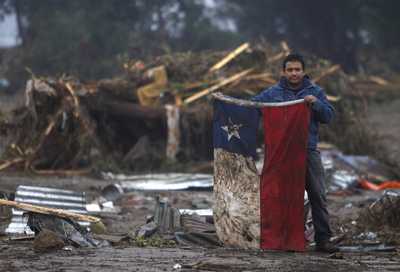 FOTOGALERIA: Bandera entre escombros