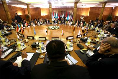Reunión extraordinaria de los representantes de la Liga Árabe.