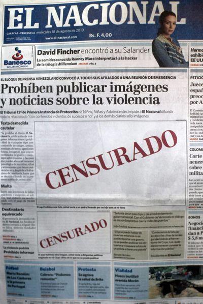 Portada de la edición del miércoles 18 de agosto de 2010 del diario de Caracas  El Nacional