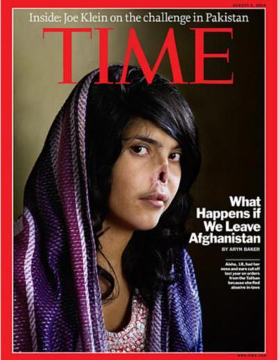 La polémica portada del 'Time' con el rostro de una mujer afgana de 18 años mutilada por los talibanes.
