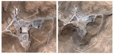Imágenes de satélite facilitadas por Digital Globe, que muestran una supuesta instalación nuclear en Siria antes (i) y después de de un ataque aéreo israelí el 6 de septiembre de 2007