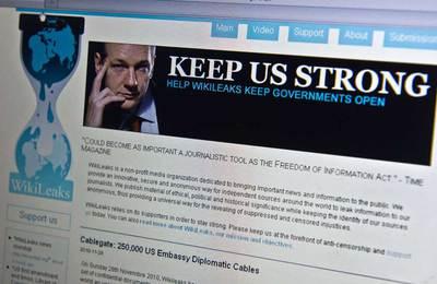 Portada de la página web de Wikileaks