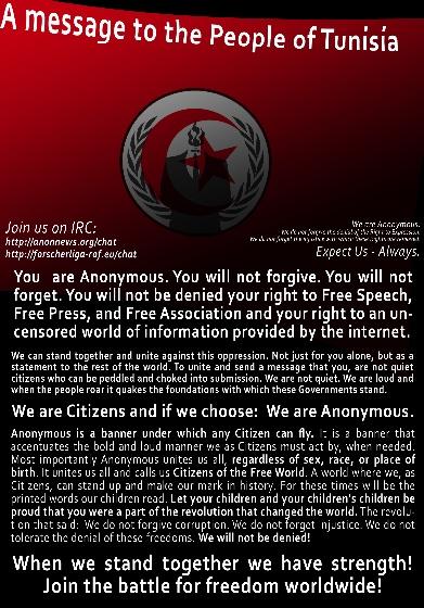 Cartel colgado en inglés por Anonymous en las webs públicas tunecinas atacadas a petición de los jóvenes internautas.