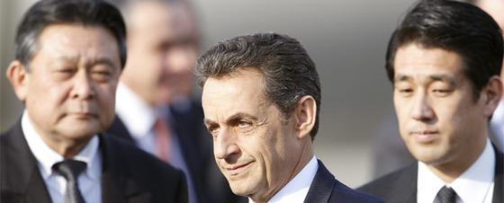 Nicolas Sarkozy, a su llegada al aeropuerto de Tokio