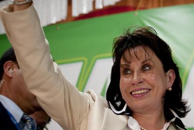 La esposa del presidente de Guatemala, Sandra Torres, en un mitin en Mixco.
