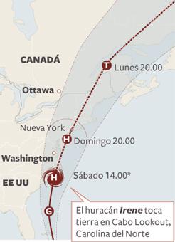 El huracán Irene llega a Nueva York tras golpear Carolina del Norte