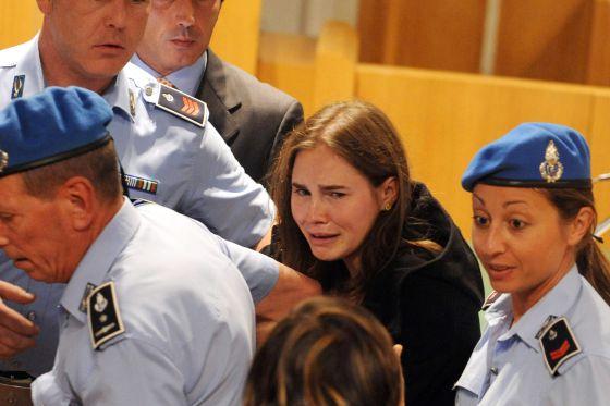 Amanda Knox, tras la absolución.