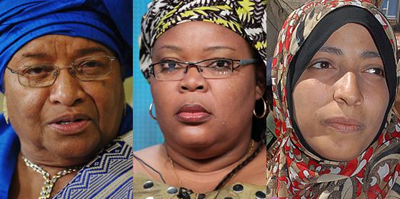 De izq. a dcha.: Ellen Johnson-Sirleaf, Leymah Gbowee y Tawakul Kerman.