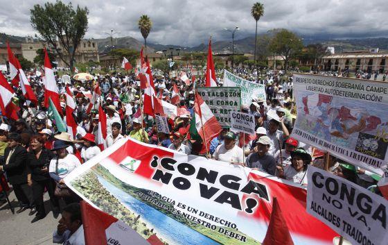 Protesta en Cajamarca contra la mina.