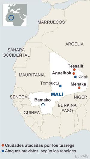 Rebeldes tuareg atacan tres ciudades al norte de Malí