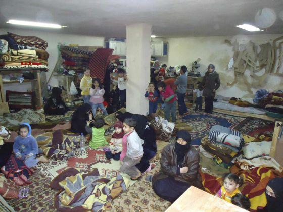 Refugio en el barrio de Baba Amro, en la ciudad de Homs.
