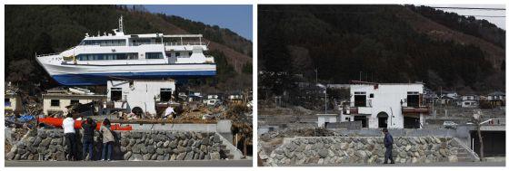 Una imagen tomada en Otsuchi, en la prefectura de Iwate, un mes después del tsunami; y el mismo edificio en la actualidad.