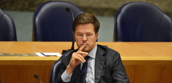 El primer ministro dimisionario, Mark Rutte, durante el debate.