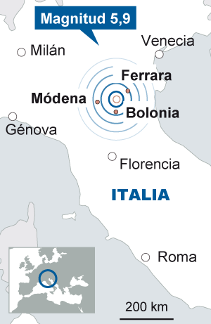 Un seísmo de 5,9 grados sacude Italia y deja siete muertos