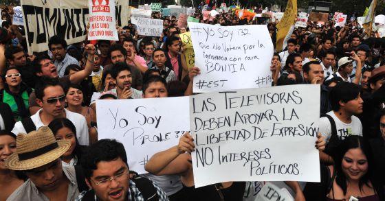 Imagen de la protesta de este miércoles en México.