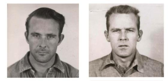 Clarence Anglin, a la izquierda, y su hermano John, antes de la fuga.