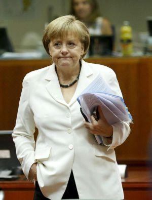La canciller alemana Angela Merkel durante la segunda jornada de la cumbre de la UE en Bruselas.