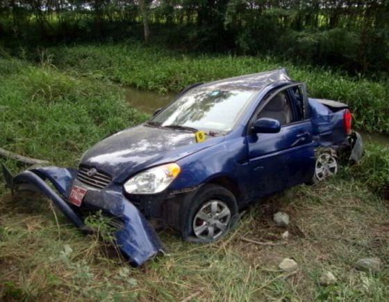 Estado en que quedó el automóvil que conducía Ángel Carromero tras el accidente.