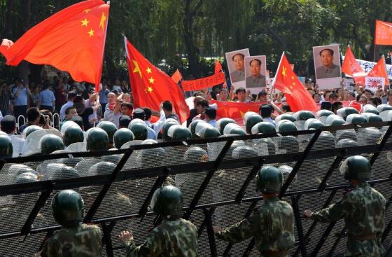 Protesta contra la Embajada de Japón en Pekín.