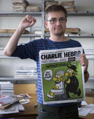 El director del semanario satírico Charlie Hebdo, Charb, en París.