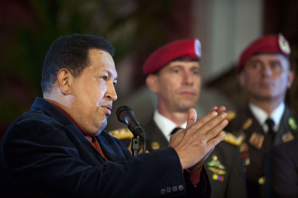 El presidente Chávez, durante la rueda de prensa que dio en el Palacio de Miraflores este sábado, jornada de reflexión.