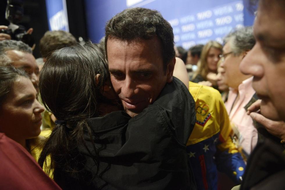 Capriles, en la sede de su campaña al conocerse los resultados electorales.