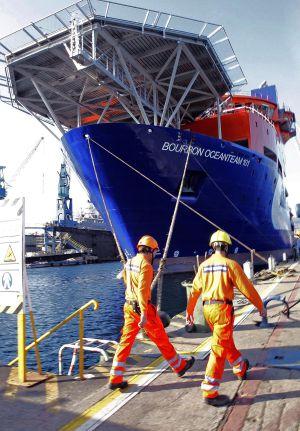 En el Astillero MetalShip durante el acto de entrega del buque Bourbon Ocean Team.