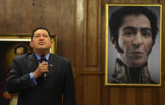 Hugo Chávez durante la rueda de prensa que dio en Caracas el 9 de octubre.
