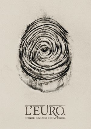 Imagen de campaña de la agencia italiana DLV-BBDO, El euro: la identidad común que nos hace más fuertes.