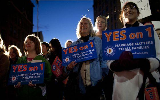 Manifestación de apoyo al matrimonio gay en Maine la semana pasada.