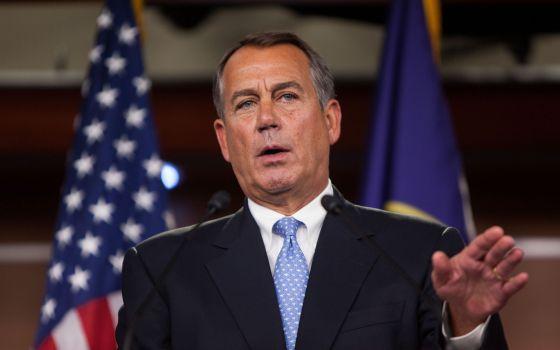 El portavoz de la Cámara de Representantes, John Boehner, durante sus declaraciones en el Capitolio este viernes.