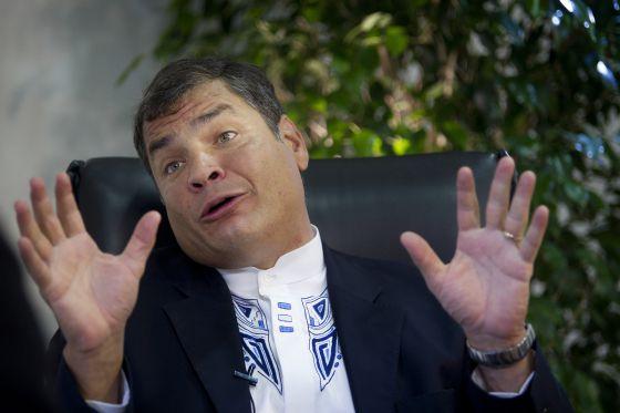 El presidente ecuatoriano, Rafael Correa, durante la entrevista.