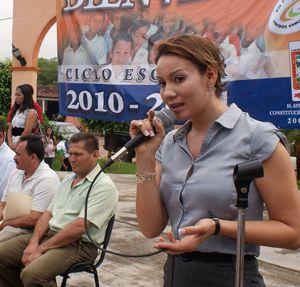 María Santos Gorrostieta, en un acto en enero de 2011