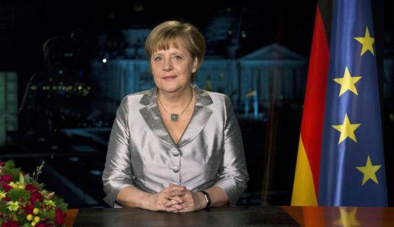 Angela Merkel durante su discurso de Año Nuevo.