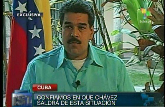 El vicepresidente Nicolás Maduro, durante la entrevista en TeleSur.