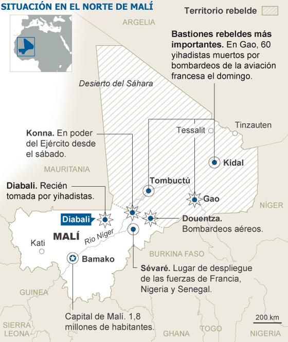 Los islamistas de Malí huyen de sus feudos en el norte ante la ofensiva aérea