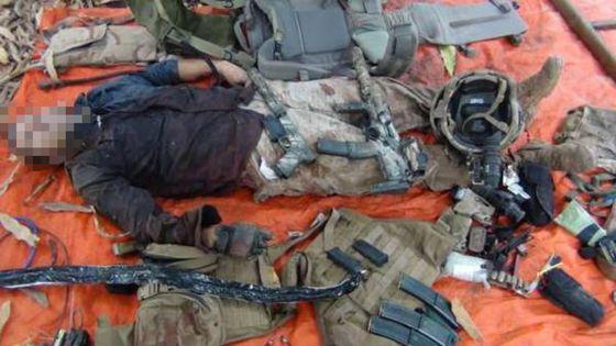 Imagen del soldado francés muerto difundida por el grupo terrorista somalí Al Shabab