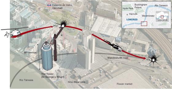 Al menos dos muertos en un espectacular accidente de helicóptero en Londres