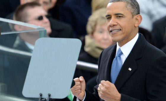 Barack Obama durante su discurso de investidura.