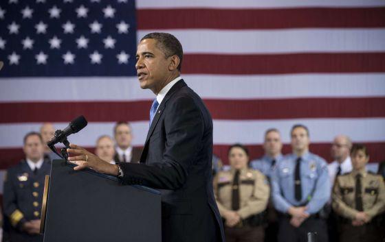 El presidente de EE UU durante su discurso en Minneapolis.