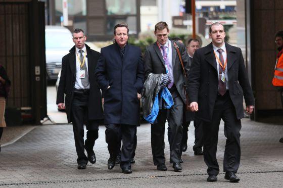 El primer ministro británico, David Cameron, llega a la sede del Consejo Europeo.