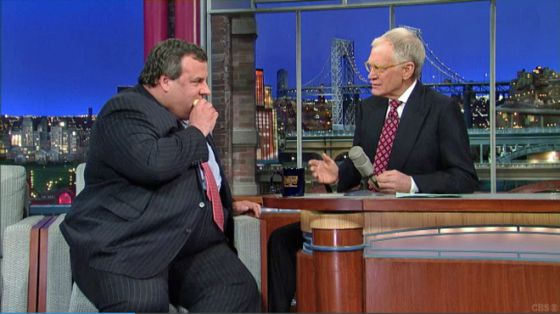 El gobernador de Nueva Jersey, durante su entrevista con David Letterman.