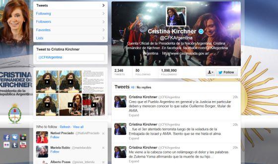 Perfil de la presidenta argentina en la red de microblogs Twitter.
