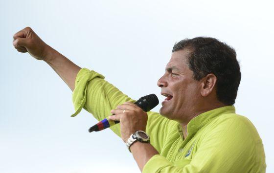 El presidente ecuatoriano Rafael Correa, en un mitin celebrado el viernes pasado.
