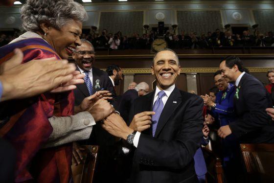 El presidente Barack Obama llega al Capitolio antes de pronunciar su discurso sobre el Estado de la Unión.