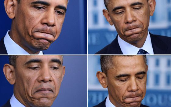 El presidente Barack Obama en varios instantes de su comparecencia de prensa este viernes en la Casa Blanca.