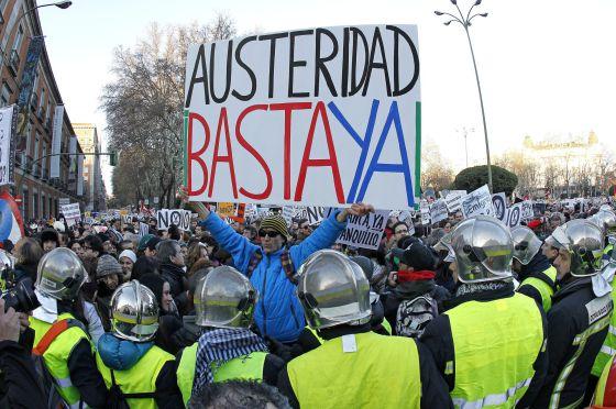 Manifestación de protesta en Madrid contra los recortes.