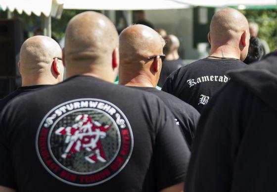 Miembros de una organización de ultraderecha alemana, en un festival en Viereck, en agosto de 2012.